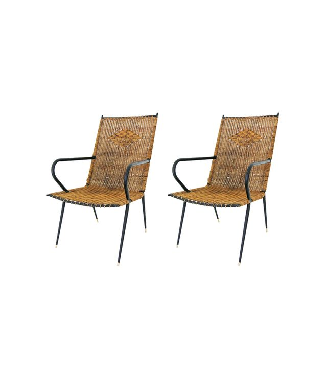 Italian Pair of Mid-20th Century Rattan Chairs