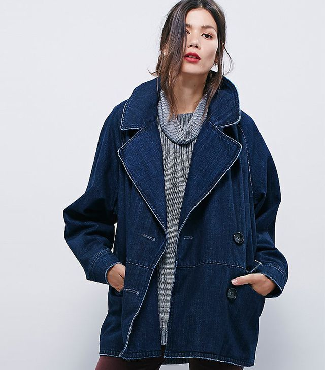 Free People Denim Car Coat