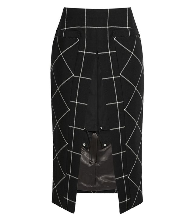 Sacai Cotton Twill-Paneled Checked Wool Skirt