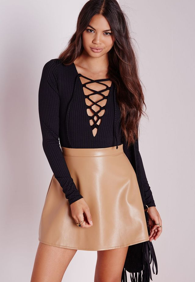 Missguided Lace Up Front Bodysuit