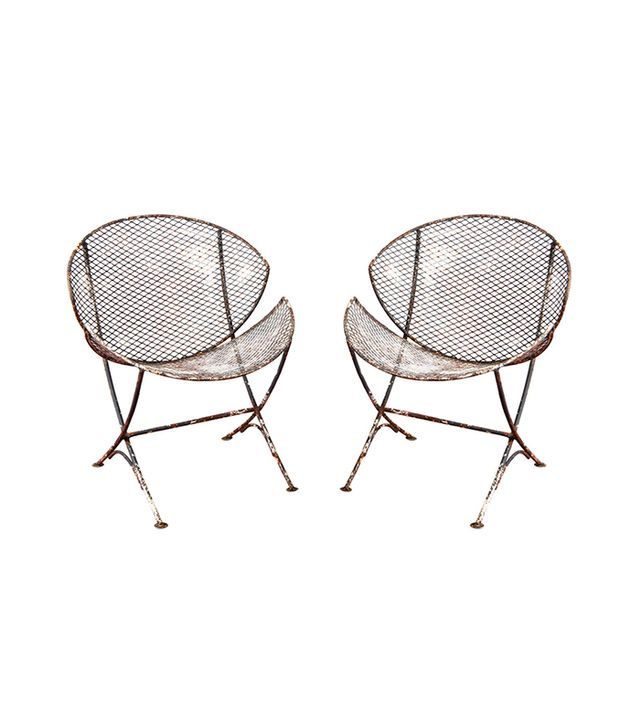 1stdibs Mesh Metal Saucer Outdoor Chairs