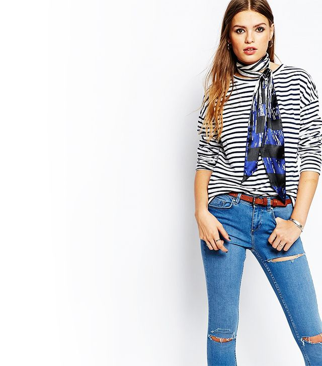 Pieces Multi Stripe Skinny Scarf