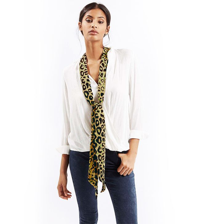 Topshop Leopard Print Skinny Scarf