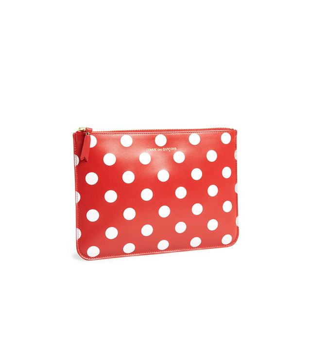 Comme de Garçons Large Polka Dot Leather Zip Up Pouch