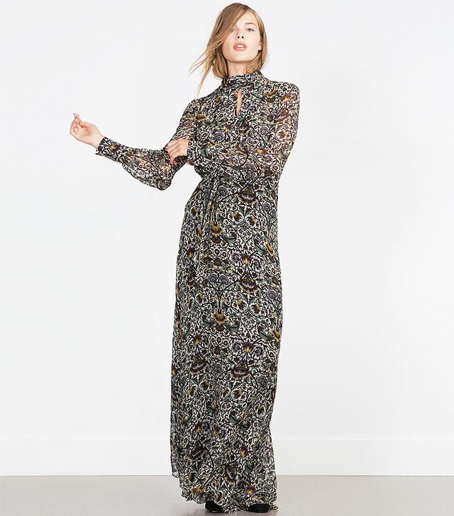Zara Printed Long Sleeve Maxi Dress