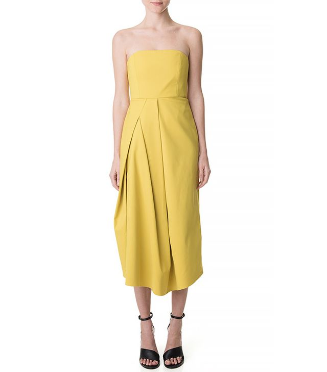Tibi Agathe Draped Strapless Dress