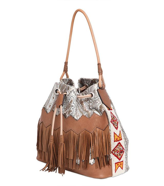 Etro Paisley Bucket Bag With Leather Fringe