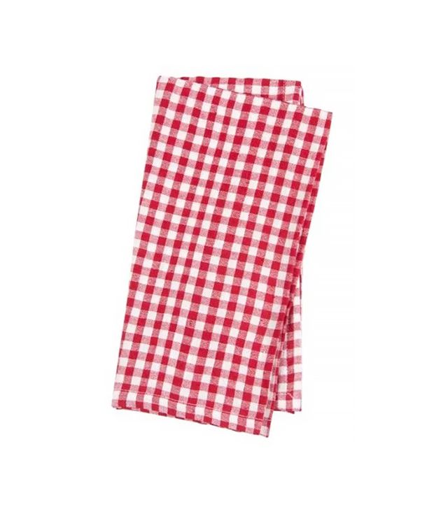 Found Object Gingham Linen Napkins, Red, Set of 4