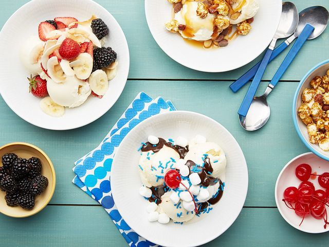 Finish the meal off with cold, gooey ice cream sundaes. Set out all the fixings, and let guests assemble their own dessert.
