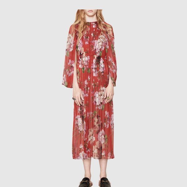 Gucci Blooms Print Silk Plissé Dress