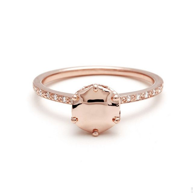 Anna Sheffield Hazeline Solitaire Ring With Rose Gold Gemstone