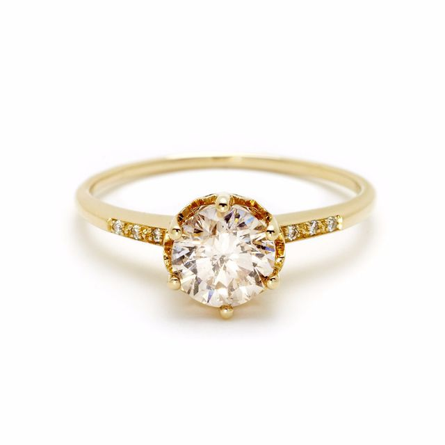 Anna Sheffield Champagne Diamond Hazeline Solitaire Ring