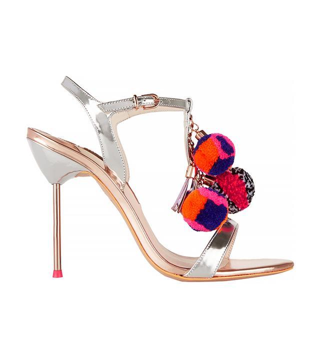 Sophia Webster Layla Pom Pom Embellished Metallic Leather Sandals