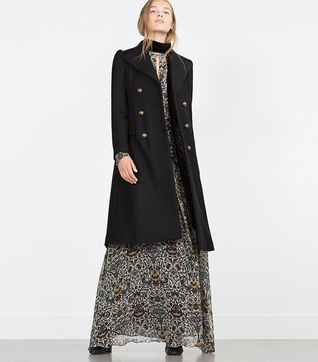 Zara Military-Style Overcoat