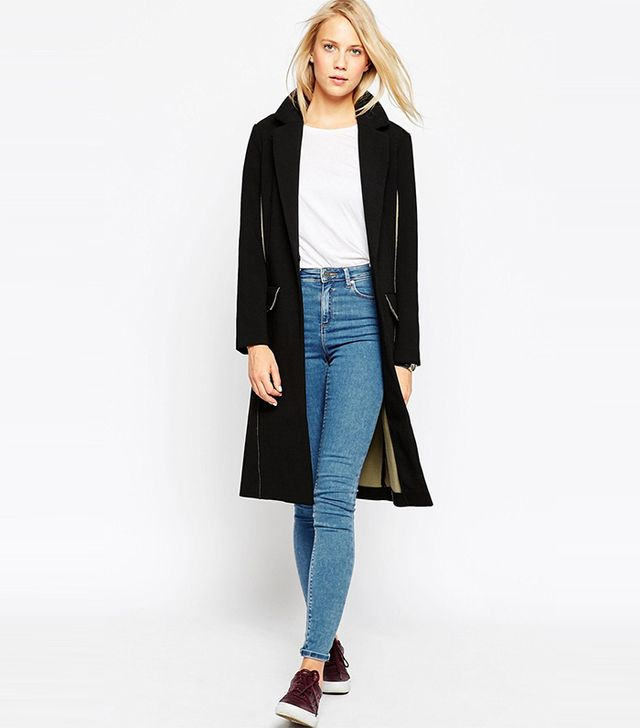 ASOS Coat With Raw Edge and Contrast Lining