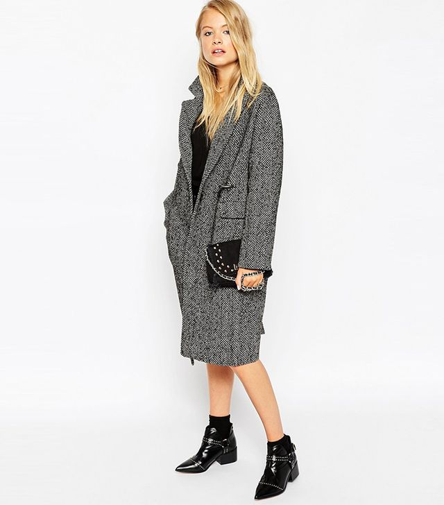 ASOS Coat in Herringbone With Clasp Fasten