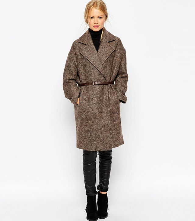 ASOS Coat in Cocoon Fit With Belt