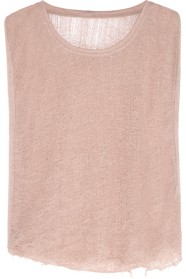 Raquel Allegra Shredded Cotton Jersey Blend Top