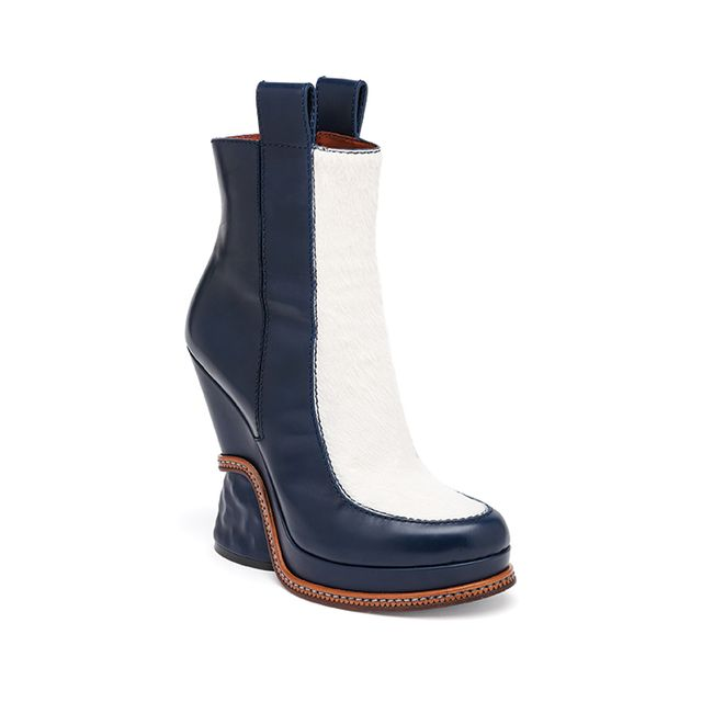 Fendi Leather & Calf Hair Two-Tone Booties