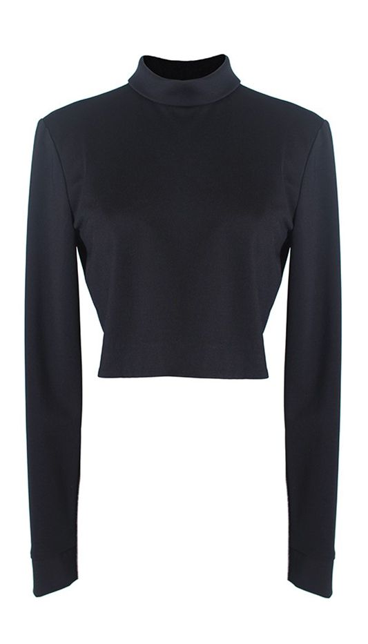Tibi Jersey Mock Neck Long Sleeve Cropped Top