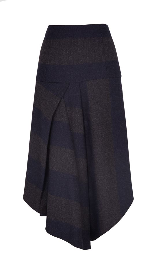 Tibi Horizon Striped Draped Wool Skirt