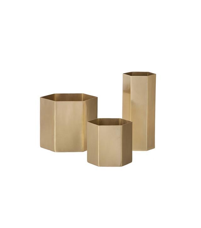 Fern Living Hexagon Brass Pots