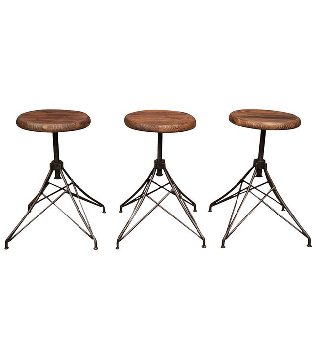 "Vintage Industrial ""Eiffel Tower"" Style Adjustable Iron Stools"