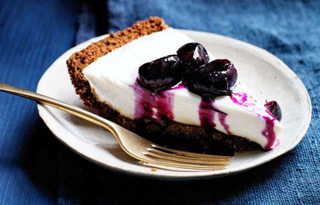 Yogurt Pie With Grape and Black-Pepper Compote