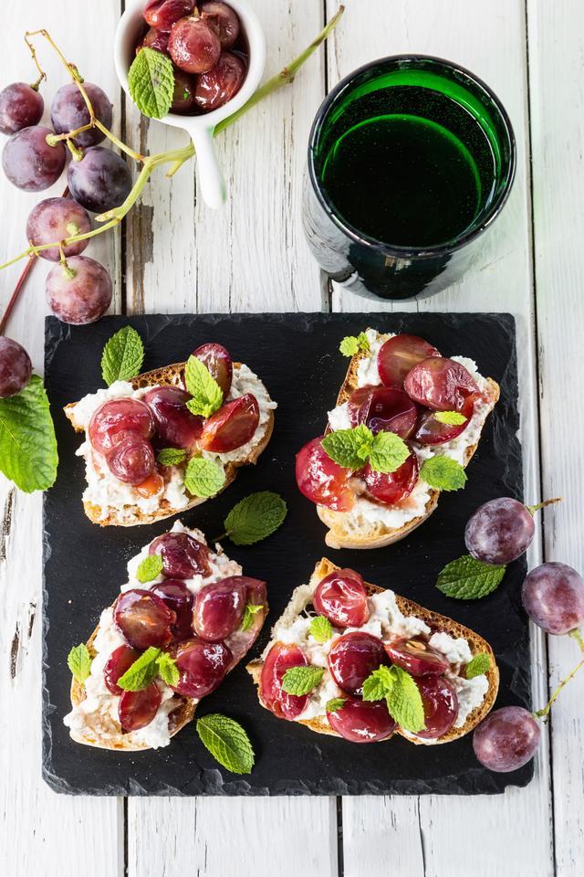 Blue Cheese and Pan-Roasted Grape Tartine
