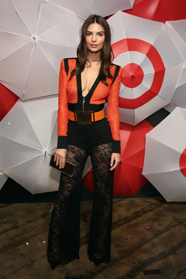 WHO: Emily Ratajkowski  WHAT: TargetStyle, in Vogue event  WEAR:Balmain bodysuit and pants;Jimmy Choo clutch.