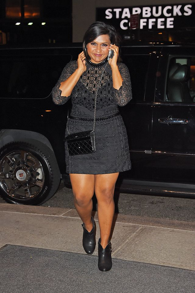 2. Go for an interesting detail at the waistline, like Mindy Kaling.
