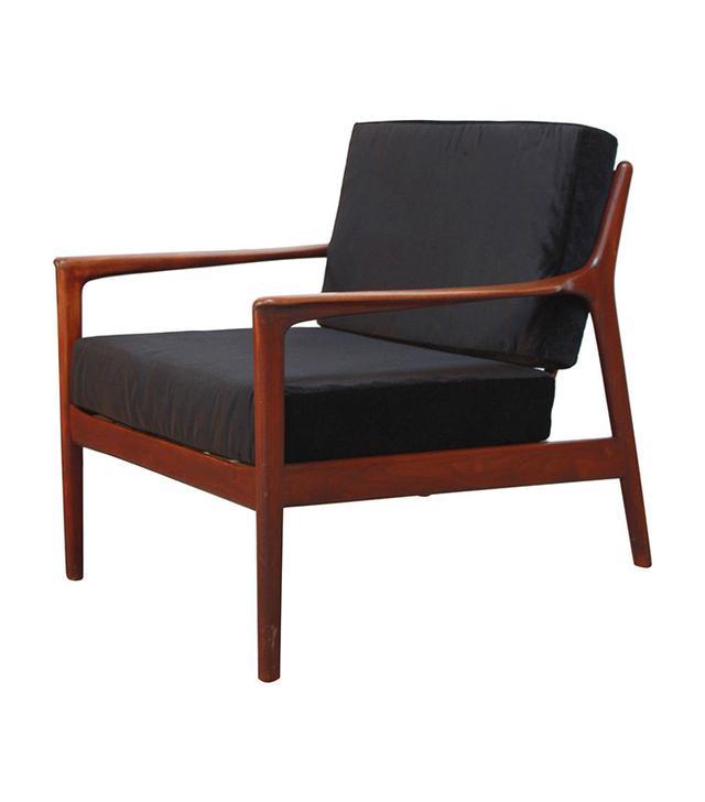 Vintage Danish Modern Lounge Chair in Velvet and Teak