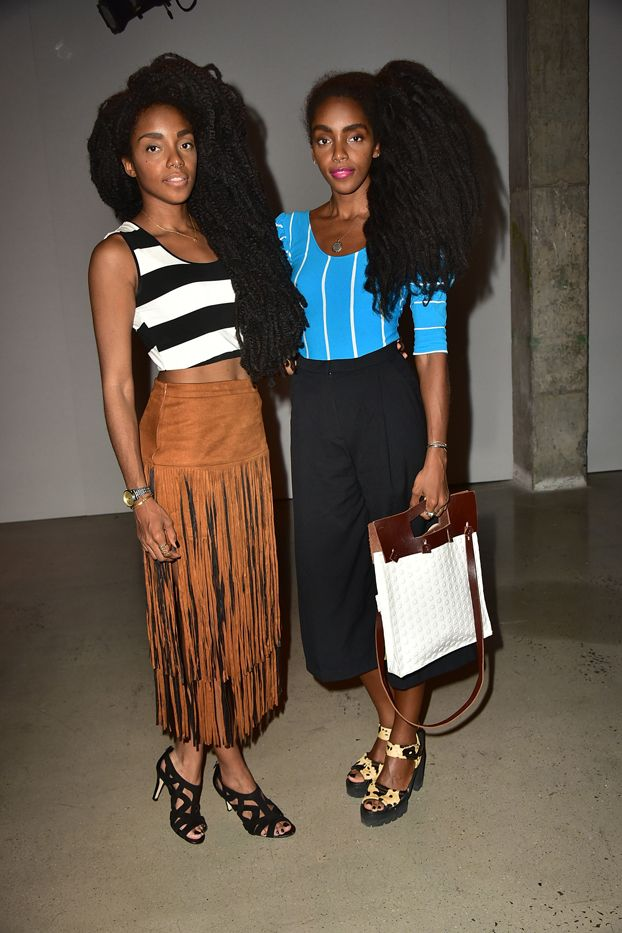 WHO: TK and Cipriana Quann  WHAT: Sally LaPointe S/S 16 show  WEAR: On TK Quann: Revolve Clothing top and Raga Desert Fringe Skirt ($162);Calvin Klein shoes.On Cipriana Quann:...