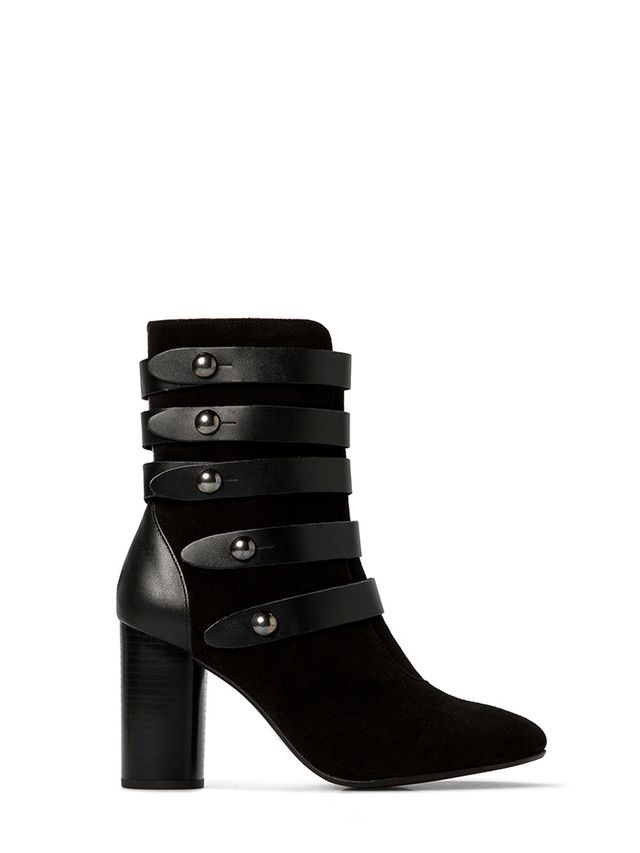 Mango Buckled Ankle Boots in Suede
