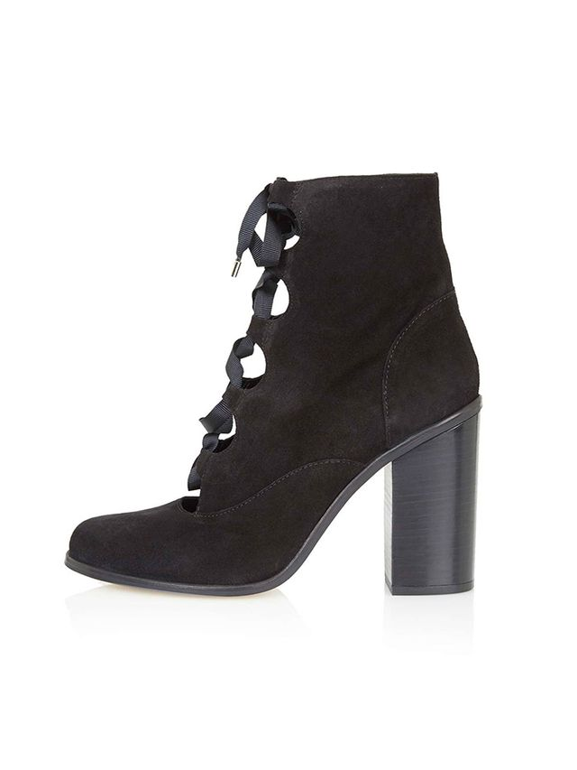 Topshop Magpie Ghillie Ankle Boots