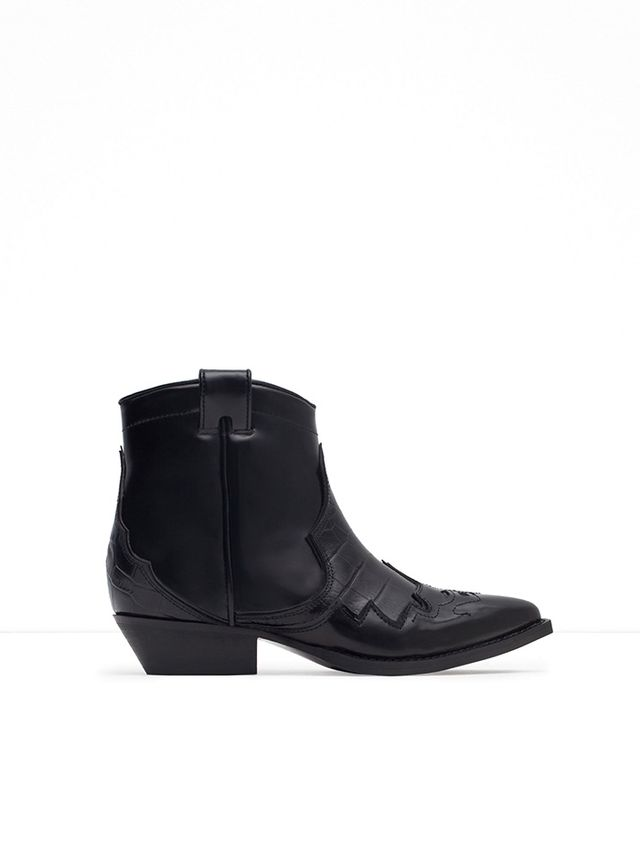 Zara Cowboy Ankle Boots in Leather