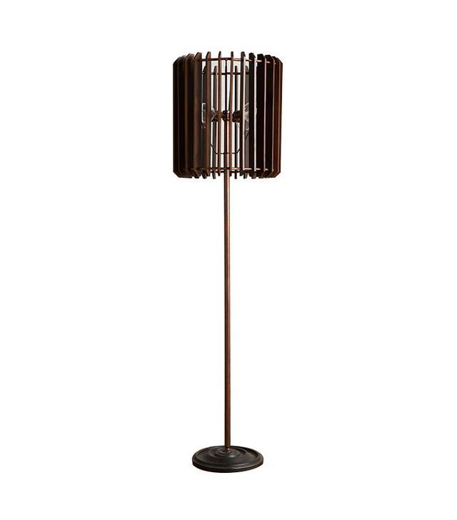Anthropologie Slatted Woodchime Floor Lamp
