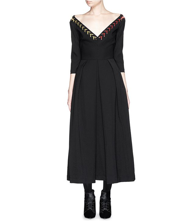 Preen by Thornton Bregazzi Astrid Ted Lace-Up V-Neck Midi Dress