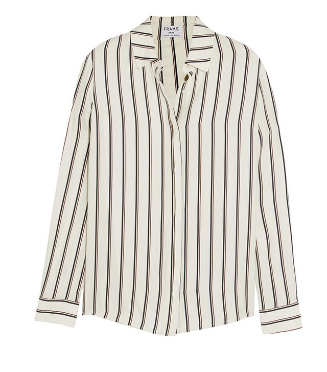 Frame Denim Le Classic Striped Washed Silk-Charmeuse Shirt