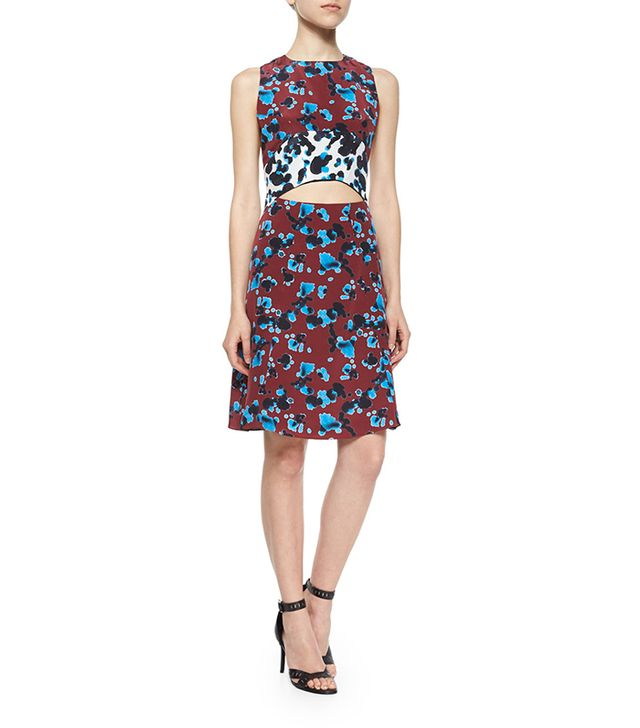 Tanya Taylor Mallory Ink-Spot Cutout Dress