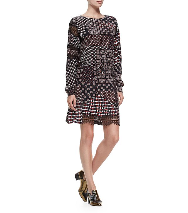 Thakoon Addition Lace-Sleeve Silk Tie-Waist Dress