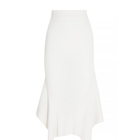 Ribbed Wool and Silk Blend Midi Skirt