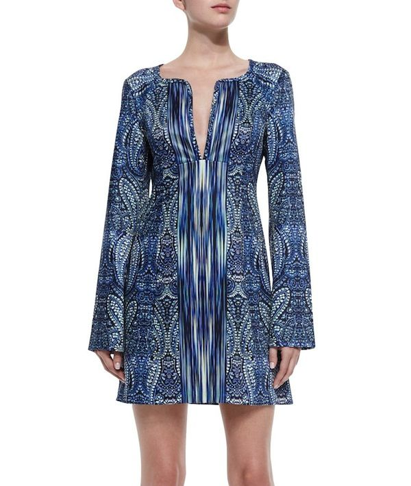Nanette Lepore Bell-Sleeve Paisley-Print Dress
