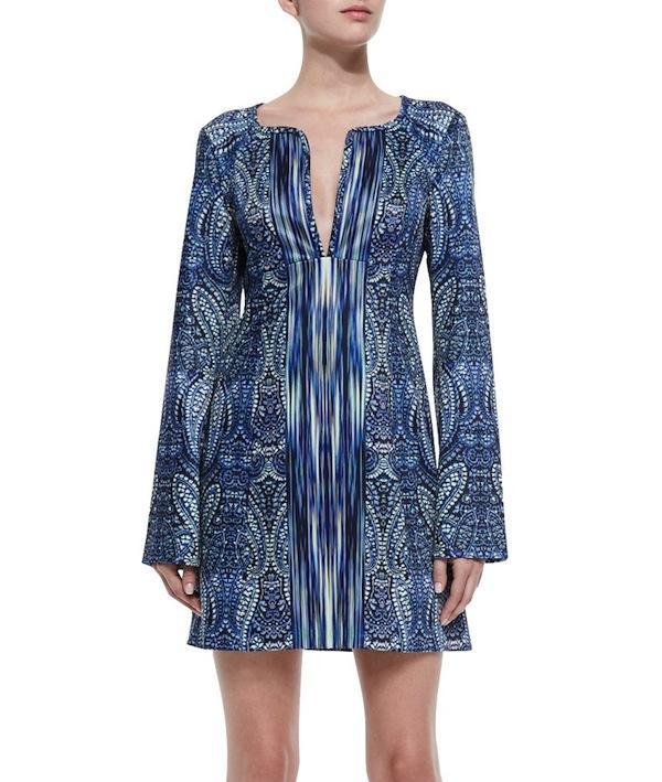 Nanette Lepore Bell-Sleeve Paisley-Print Dress