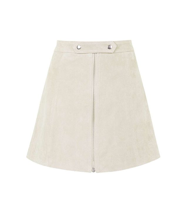 Topshop Tab Button Suede Skirt