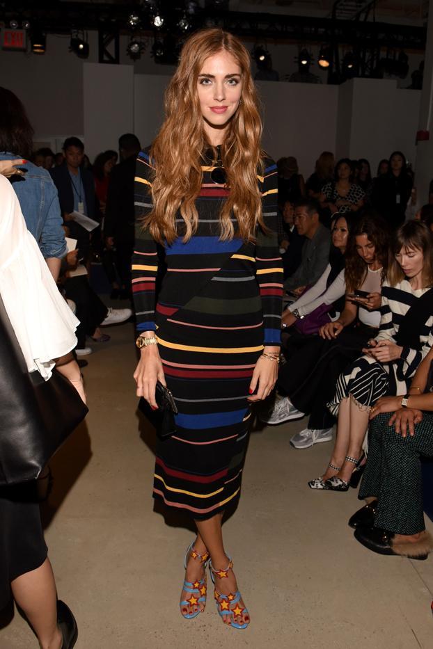 WHO: Chiara Ferragni  WHAT: Derek Lam S/S 16 show  WEAR: Stella McCartney Tight Striped Long Sleeved Dress ($1540); Chiara Ferragni shoes.