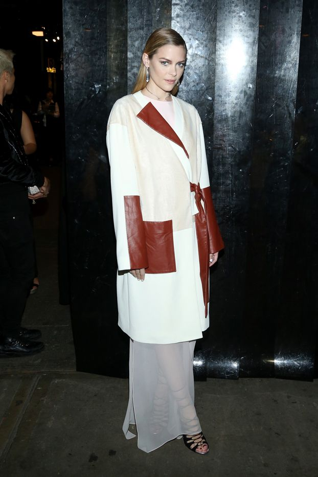 WHO: Jaime King  WHAT: Prabal Gurung S/S 16 show  WEAR: Prabal Gurung coat, dress, and heels from the Resort 16 collection.