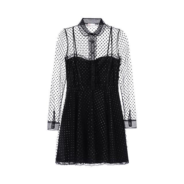 RedValentino Lurex Polka Dot Tulle Dress