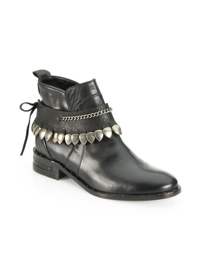 Freda Salvador Star Leather Studded-Fringe Welt Ankle Boots