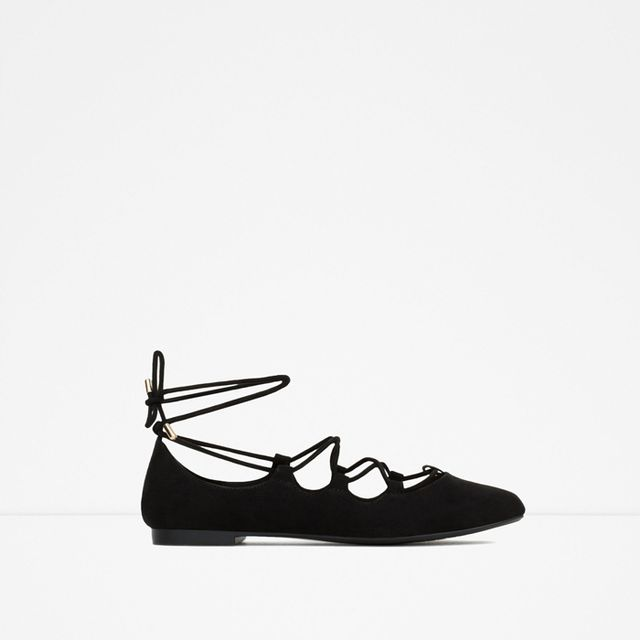 Zara Lace-Up Ballerina Flats